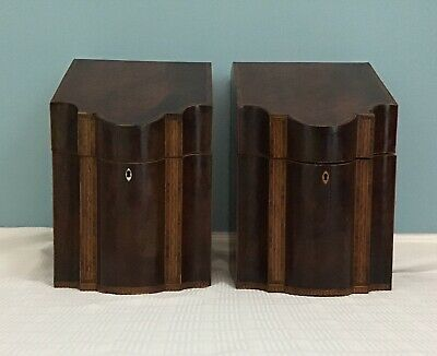 Pair of Antique 19th Century Inlaid Wooden Knife Boxes
