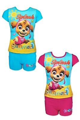 Girls Paw Patrol T-shirt & Short Set 100% Cotton Summer Outfit Age 3-8 Years