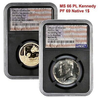 2019 Rocketship Pair - Kennedy Half MS66 PL, Native American PF69 NGC, and OGP