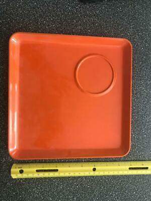"""VINTAGE LOT OF 12 -GEORGES Briard  9"""" Square LUCITE ORANGE DISHES 1960'S-SIGNED"""