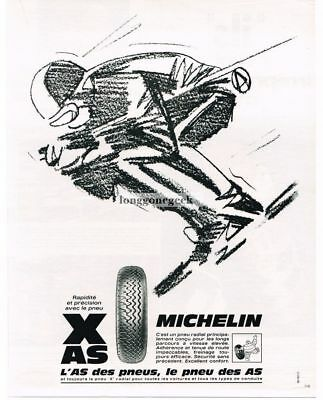 1968 Michelin Tires Snow Skiing Racing art French Vtg. Print Ad