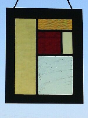 Stained Glass Panel Antique/Vintage In Mondrian Style Poppy & Cornfields