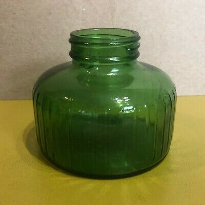 Vintage Green Glass Bottle Jar Glenshaw Glass G ribbed short