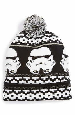 $128 Nordstrom Men's Black White Cuffed Hat Stormtrooper Pom Pom Beanie One Size