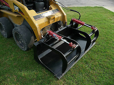 """Skid Steer Attachment 66"""" Dual Cylinder Solid Bottom Bucket Grapple - Free Ship!"""