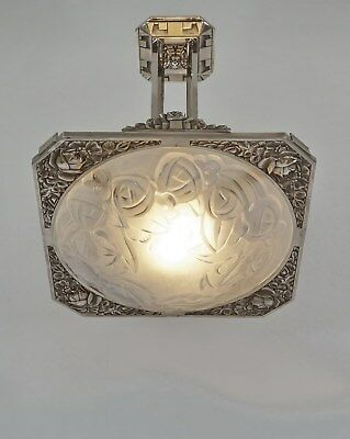 DEGUÉ : FRENCH ART DECO CHANDELIER  .. bronze and pressed glass 1930 muller era