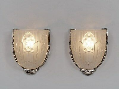 LELEU : PAIR OF FRENCH 1930 ART DECO WALL SCONCES .. lights lamp 1925 muller era