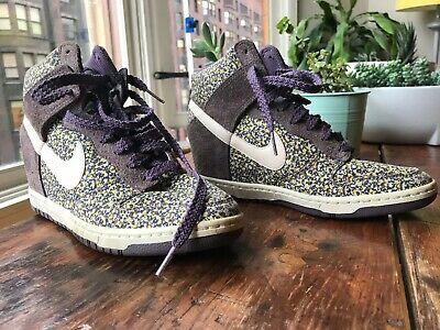 new style 194ea aec0e Nike Dunk Sky Hi Liberty Wedge Sneaker in purple floral women s 8.5 great  cond!