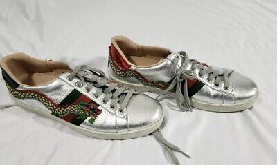 ad7ad36982c Men s Gucci Ace Crystal Silver Snake Low-Top Sneakers Size 10 US UK 9  Authentic