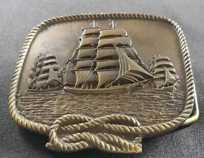 Sailing Ship Full Masted Sail Ships Square Knot Vintage Brass Toned Belt Buckle