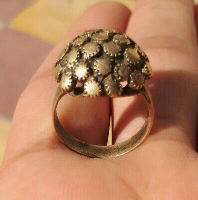 rare EXTREMELY Ancient authentic Copper BRONZE flower RING quality ARTIFACT
