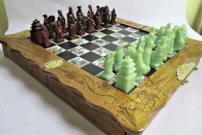 Stunning Oriental Carved Wood Framed Folding Chess Board with Chinese Chess Set