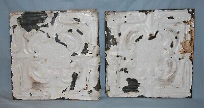 Pair Vintage 12 x 12 Embossed Tin Ceiling Tiles Chippy Paint #3