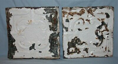 Pair Vintage 12 x 12 Embossed Tin Ceiling Tiles Chippy Paint #4