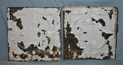 Pair Vintage 12 x 12 Embossed Tin Ceiling Tiles Chippy Paint #6