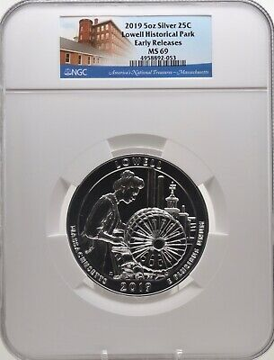2019 5oz SILVER 25C Lowell Historical Park NGC MS 69 Early Releases must see!