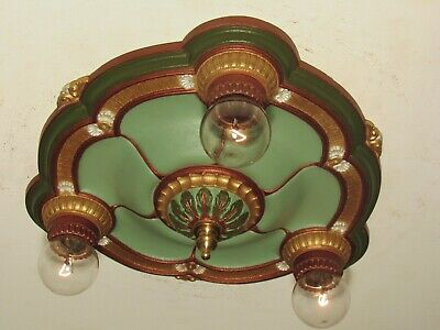 RESTORED! Antique Victorian Cast Iron Three Light Fixture New Polychrome Finish