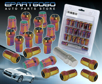 M12X1.5mm 20Pc Close End Acorn Tuner Wheel Lug Nuts Racing Neo Chrome For Toyota