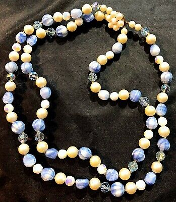 Vintage  - Blue Cream & White Beaded Double Strand Necklace