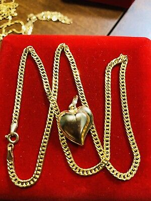 "18K Saudi Gold Heart Necklace With 18"" Long"