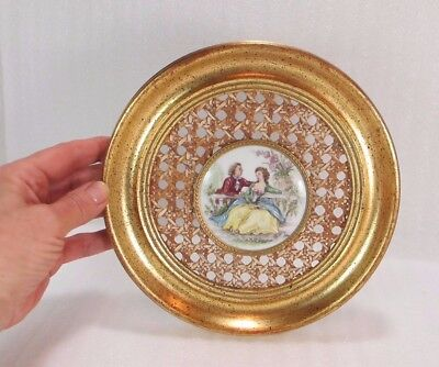 French Porcelaine Artistique Limoges Wall PLATE WICKER & WOODEN Hand Decorated