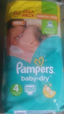 New Pampers Baby Dry Giga Pack Size 4 7kg-18kg Magical Pods 120 Nappies