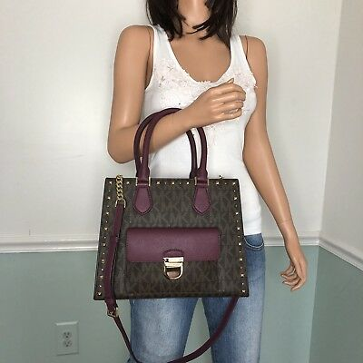 398af183e53a NEW MICHAEL KORS Bridgette Medium Tote Satchel Shoulder Crossbody Bag Brown  Plum