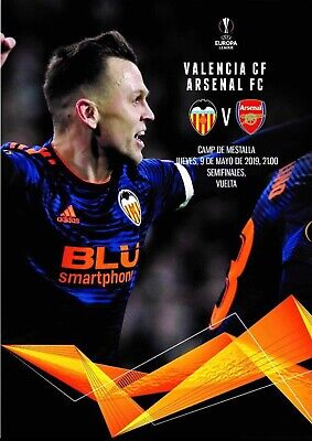 Programme Valencia v Arsenal 2019 Europa League.12 pages Size A4. Unofficial