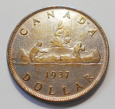 1937 SILVER Dollar F 1st Year King George VI Very Nicely TONED 3rd Canada $1.00