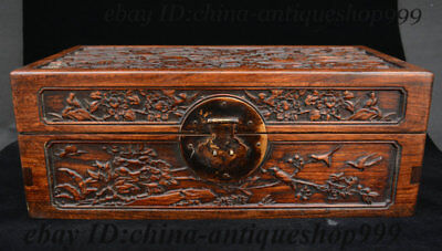 Old Chinese HuangHuali Wood Flower Bird Storage Jewelry Box Treasure Case Statue