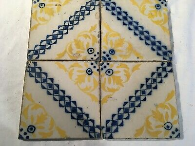 4 antique hand painted portuguese traditional Azulejo blue tile