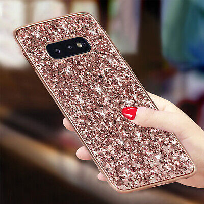 For Samsung S8 S9 S10 Plus S10e Case Bling Glitter Rubber Soft Protective Cover