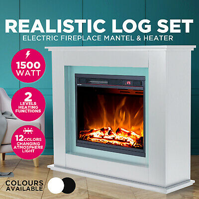 Electric Fireplace Heater Mantel Realistic Flame Effect 1500W Office Black White