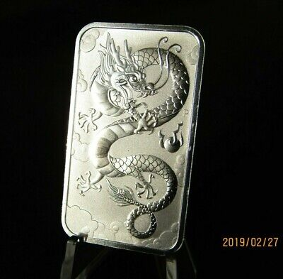New 2019 Perth Mint Dragon 1 oz 9999 Silver Bar in Airtite Capsule Holder