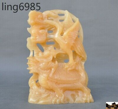 China 100% Natural yellow jade hand carved Crane dragon turtle Tortoise statue