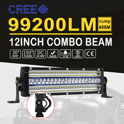 12Inch Penta Row LED Work Light Bar 640W Spot Flood Driving ATV 4X4 Offroad Lamp