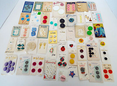 Antique Button Collection 50 Cards Collector's Estate Mixed Lot Sold As Found