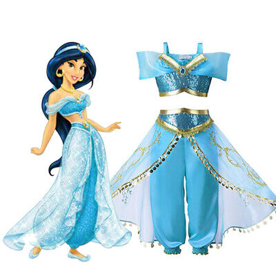 Kids Girls Aladdin Costume princesse Jasmine tenue paillettes fête déguisements