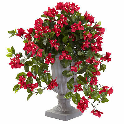 """28"""" UV-Resistant Outdoor Artificial Bougainvillea Flower Plant w/Urn -Red"""