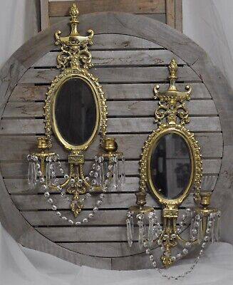 2 shabby Vintage Bronze Brass Mirror CANDLE Sconces wall crystal prism garland