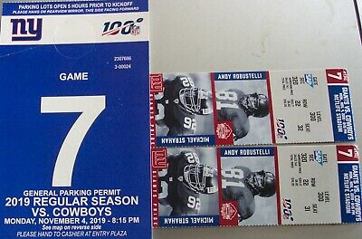 TWO Tickets -NEW YORK GIANTS VS DALLAS COWBOYS - ROW 22- SEC.320+ PARKING PASS