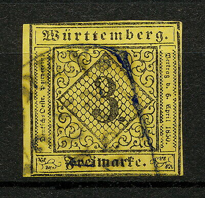 (YYAO 611) Wurttemberg 1851 USED Mich 2 Scott 2 Germany