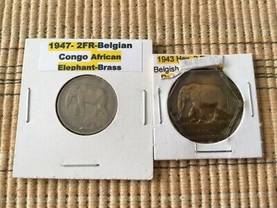 Lot Of 2 Franc Belgian Congo Hexagon And Round Coins