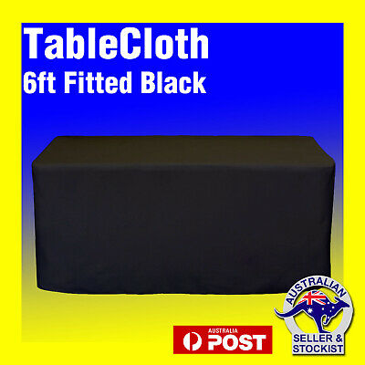 Trestle table Cover 6ft Fitted Black Tablecloths Wedding Event Polyester