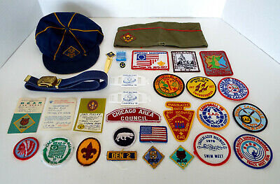 30 Vintage Boy Scout Patches Badges Awards Membership Card Chicago C.A.C.BSA Lot