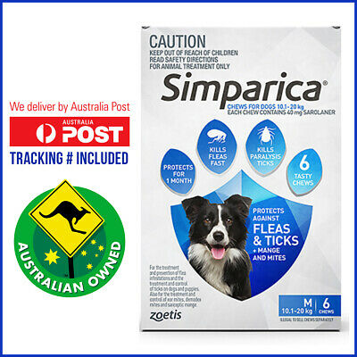 SIMPARICA 6 Doses Blue Pack for Dog 10.1 to 20 Kg Flea and Tick treatment