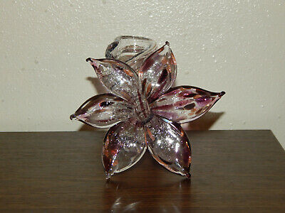 Art Glass Hand Blown Purple and Clear Flower with Twisted Stem Murano Style