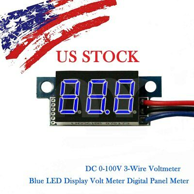 Blue LED DC 0-100V Voltmeter Digital Display Voltage VOLT METER 3-Wire