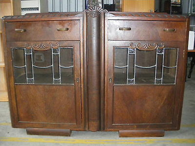 Antique Side-Board, Wooden With Leadlight Glass Doors, 1914 to 1925.