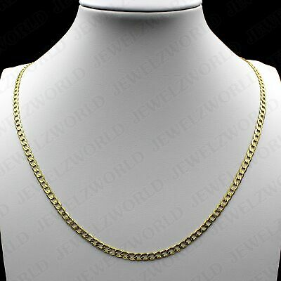 """10K Solid Yellow Gold 3.5mm 26"""" inch Mens Womens Cuban Curb Link Chain Necklace"""